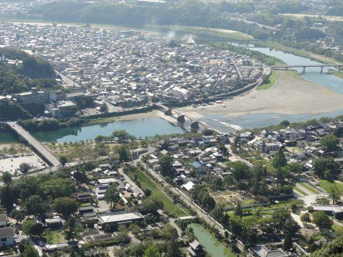 城から見た錦帯橋